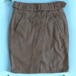 LOFT KHAKI SELF BELTED CANVAS UTILITY SKIRT 00